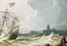 Peinture représentant un navire pris dans une tempête, non loin de la côte avec 3 personnages sur les berges