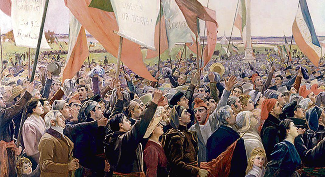 Gros plan sur une peinture représentant des patriotes manifestants avec des drapeaux