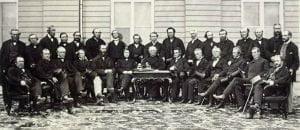 Les pères de la confédération canadienne réunis autou de MM. MacDonald et Cartier