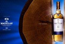 Une bouteille de Macallan Double cask 12 ans entre deux demi rondelles de chêne. Celui de gauche vient d'Europe, l'autre a poussée en Amérique du Nord.