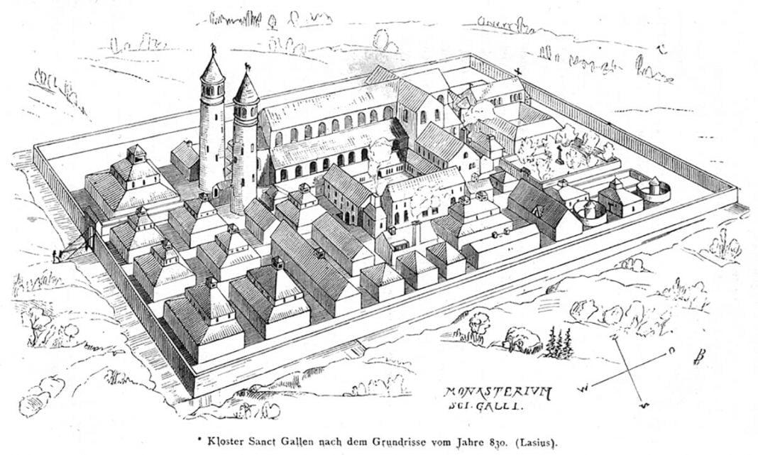 Gravure d'un plan d'abbaye en perspective