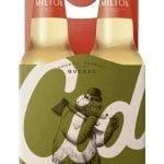 Quatre bouteilles de Cidrerie Milton Cid Houblonné dans un carton arborant un ours avec une hache sur l'épaule